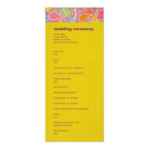 Ganesh Wedding Program yellow Personalized Invites