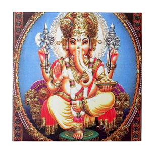 Ganesha (गणेश) Indian Elephant Tile