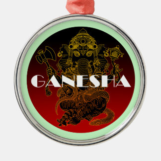 Ganesha 01 round metal christmas ornament