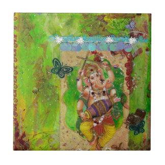 Ganesha Azulejo Cuadrado Pequeño