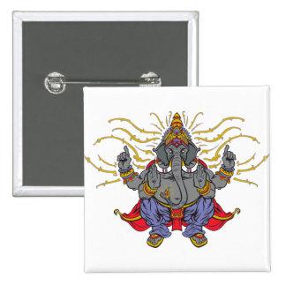 Ganesha 2 Inch Square Button