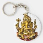 Ganesha by Vanwinkle Designs Basic Round Button Keychain