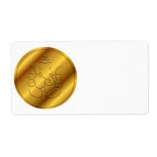 Ganesha de oro etiquetas de envío