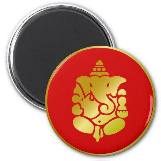 Ganesha de oro imán redondo 5 cm