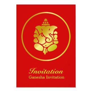 """Ganesha de oro invitación 5"""" x 7"""""""
