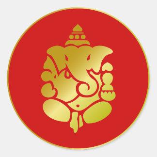 Ganesha de oro etiqueta redonda