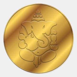 Ganesha de oro pegatina redonda