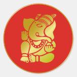 Ganesha de oro pegatinas redondas