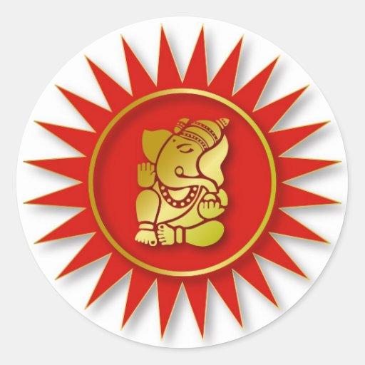 Ganesha Design Classic Round Sticker