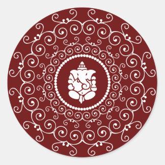 Ganesha Design Round Sticker