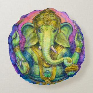 Ganesha Elephant Buddha Round Pillow Good Luck