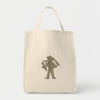 Ganesha Elephant Handyman Tools Drawing Tote Bag