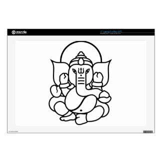 Ganesha Elephant No. 3 (black white) Skins For Laptops