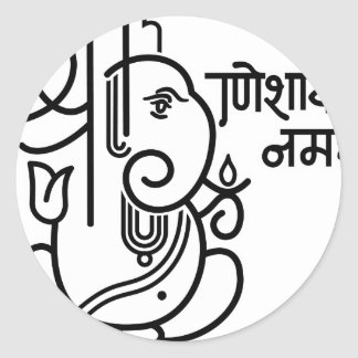 Ganesha Elephant No. 5 (black white) Round Stickers