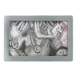 Ganesha en carbón de leña hebilla de cinturon rectangular