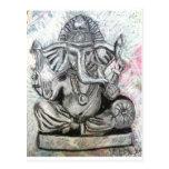 Ganesha en carbón de leña postales