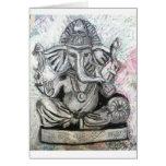 Ganesha en carbón de leña tarjeton
