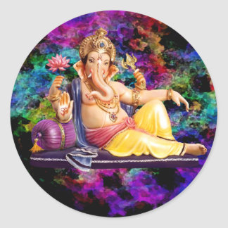 Ganesha Greeting Cards, Stickers, Postcards Classic Round Sticker