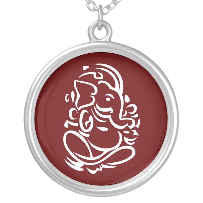 Ganesha - Hindu God Sign Silver Plated Necklace
