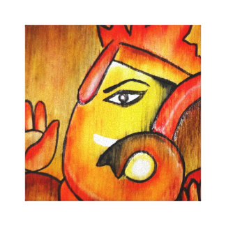 Ganesha In Acrylic Warm Color Scheme Canvas Print