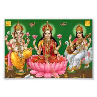 """Ganesha, Lakshmi, & Saraswati Print (6"""" x 4"""") Photo Art"""