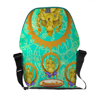 Ganesha Lord of Beginnings Messenger bag green