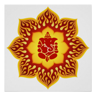 Ganesha Lotus Design Poster