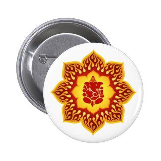 Ganesha Lotus Fire Design 2 Inch Round Button