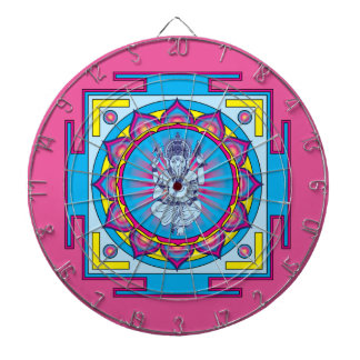 Ganesha Mandala Dartboard With Darts