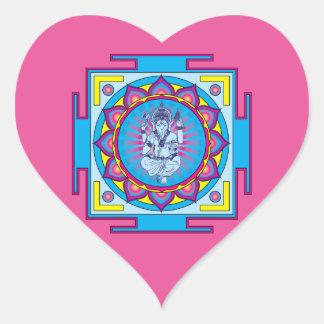 Ganesha Mandala Heart Sticker
