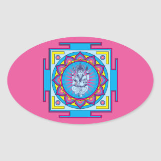 Ganesha Mandala Oval Sticker