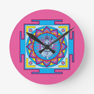 Ganesha Mandala Round Clock