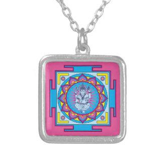Ganesha Mandala Silver Plated Necklace