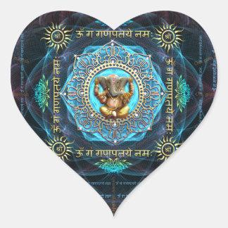 Ganesha- OM Gam Ganapataye Namah Pegatina En Forma De Corazón