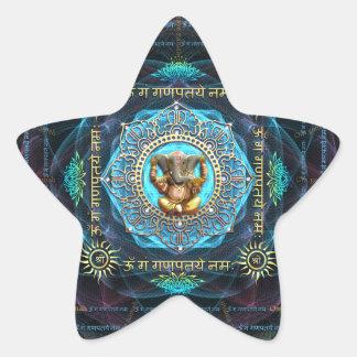 Ganesha- OM Gam Ganapataye Namah Pegatina En Forma De Estrella