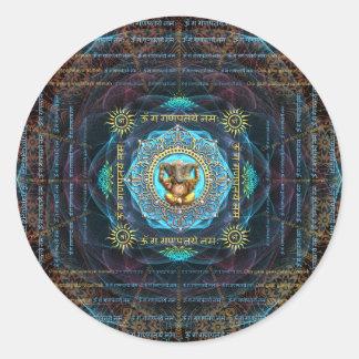 Ganesha- OM Gam Ganapataye Namah Pegatina Redonda