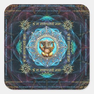 Ganesha- OM Gam Ganapataye Namah Pegatina Cuadrada