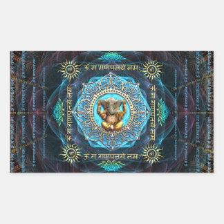 Ganesha- OM Gam Ganapataye Namah Pegatina Rectangular