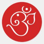 Ganesha Om Style Design Classic Round Sticker