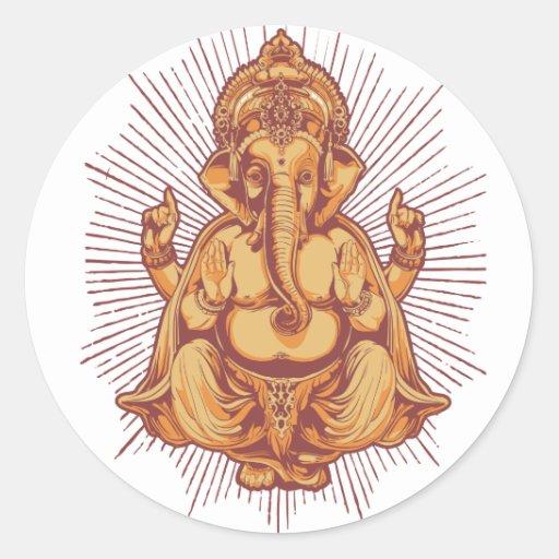 Ganesha Pegatina Redonda