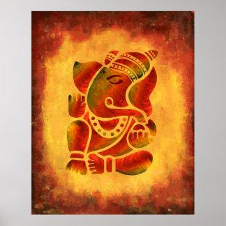Ganesha - pintura del Grunge Póster