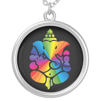 Ganesha Rainbow Sign Silver Plated Necklace