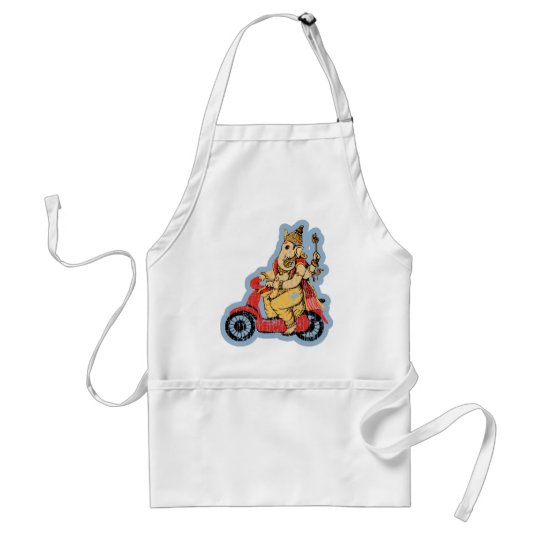 Ganesha Riding a Scooter Adult Apron