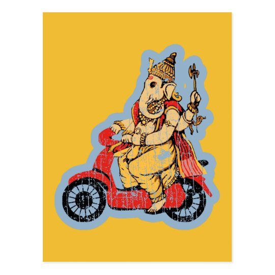 Ganesha Riding a Scooter Postcard