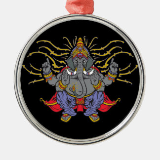 Ganesha Round Metal Christmas Ornament