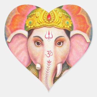 Ganesha s Blessings Heart Stickers