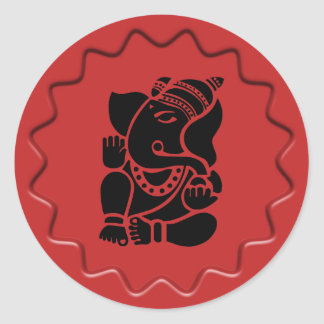 Ganesha Sign Red Wax Seal Classic Round Sticker