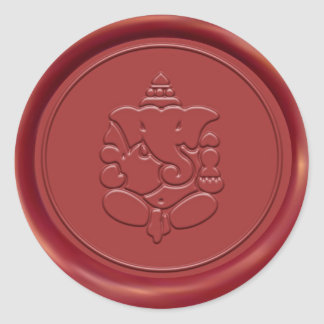 Ganesha Wax Seal Classic Round Sticker