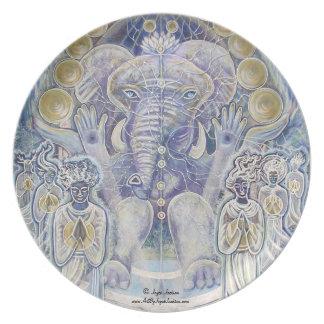 """Ganesha Wealth Blessing 10"""" Melamine Plate"""