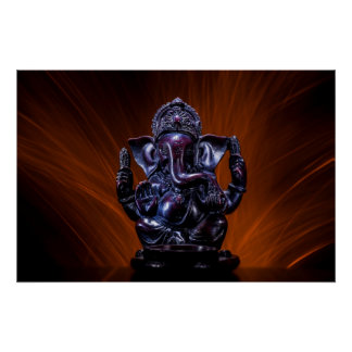 Ganesha with Fire Background Print
